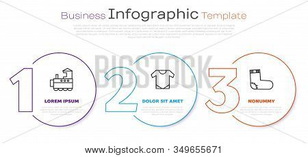 Set Line Toy Train, Baby Onesie And Baby Socks Clothes. Business Infographic Template. Vector
