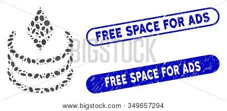 Mosaic Ethereum Portal And Corroded Stamp Seals With Free Space For Ads Phrase. Mosaic Vector Ethere