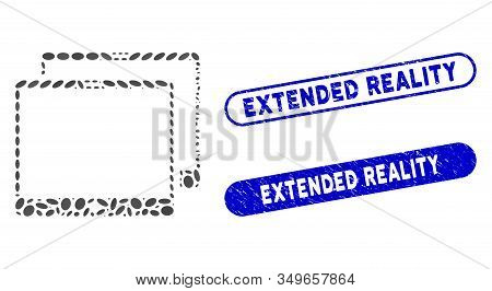 Mosaic Mobile Tabs And Corroded Stamp Watermarks With Extended Reality Caption. Mosaic Vector Mobile