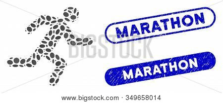 Mosaic Running Man And Distressed Stamp Seals With Marathon Text. Mosaic Vector Running Man Is Compo