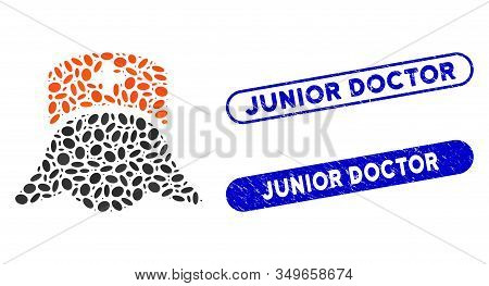 Mosaic Hospital Nurse Head And Rubber Stamp Seals With Junior Doctor Text. Mosaic Vector Hospital Nu