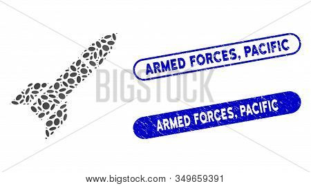 Mosaic Missile And Rubber Stamp Seals With Armed Forces, Pacific Text. Mosaic Vector Missile Is Desi