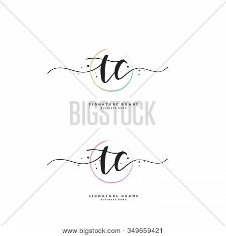 T C Tc Initial Letter Handwriting And  Signature Logo. A Concept Handwriting Initial Logo With Templ