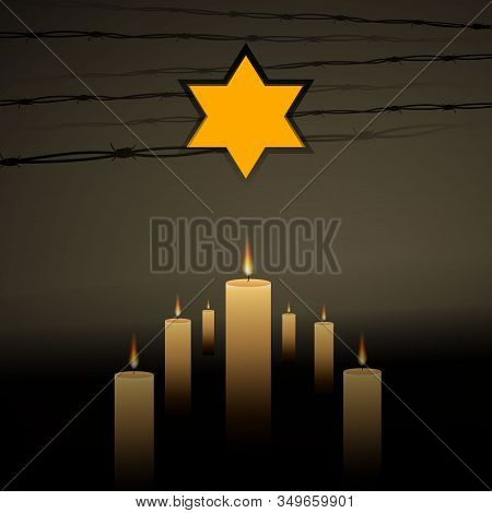Jewish Star With Barbed Wire And Seven Candles, International Holocaust Remembrance Day Poster, Janu