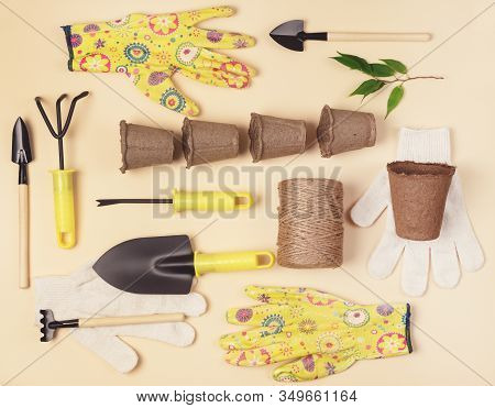 Flat Lay With Garden Tools Gardening Spring Or Summer Concept Yellow And White Gloves Garden Shovel