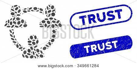Mosaic Trust Circle And Grunge Stamp Seals With Trust Phrase. Mosaic Vector Trust Circle Is Composed