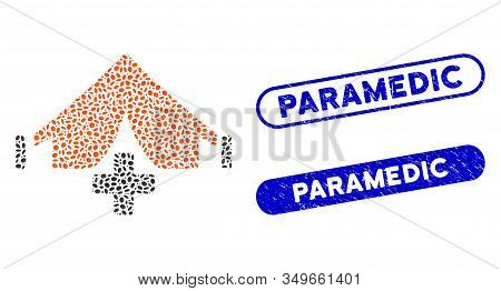 Mosaic Field Hospital And Rubber Stamp Seals With Paramedic Phrase. Mosaic Vector Field Hospital Is