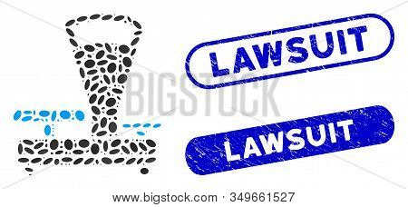 Mosaic Scales And Grunge Stamp Watermarks With Lawsuit Caption. Mosaic Vector Scales Is Formed With