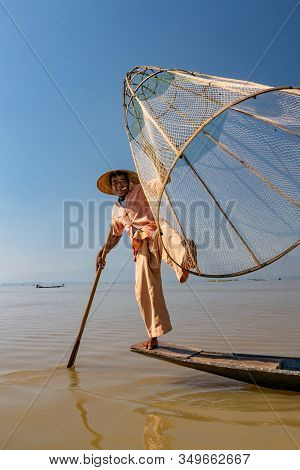 Traditional Fishermen At Inle Lake In Myanmar