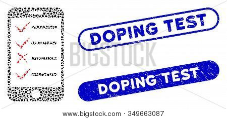 Mosaic Mobile Tasks And Grunge Stamp Seals With Doping Test Caption. Mosaic Vector Mobile Tasks Is F