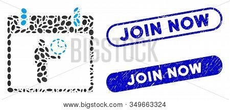 Mosaic Time Manager Calendar Day And Rubber Stamp Seals With Join Now Phrase. Mosaic Vector Time Man