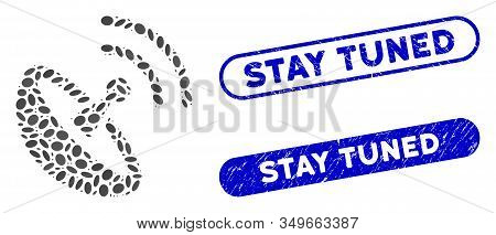 Mosaic Space Antenna And Rubber Stamp Seals With Stay Tuned Phrase. Mosaic Vector Space Antenna Is F