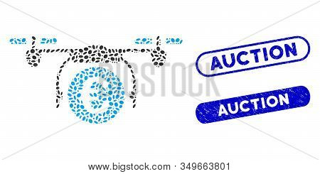 Mosaic Euro Quadcopter Payment And Distressed Stamp Seals With Auction Caption. Mosaic Vector Euro Q