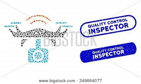 Mosaic Spy Drone And Distressed Stamp Seals With Quality Control Inspector Caption. Mosaic Vector Sp