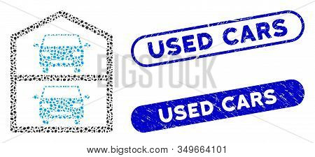 Mosaic Multi-storey Car Park And Grunge Stamp Watermarks With Used Cars Text. Mosaic Vector Multi-st
