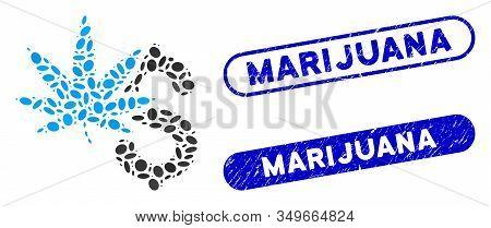 Mosaic Marijuana Business And Corroded Stamp Watermarks With Marijuana Caption. Mosaic Vector Mariju
