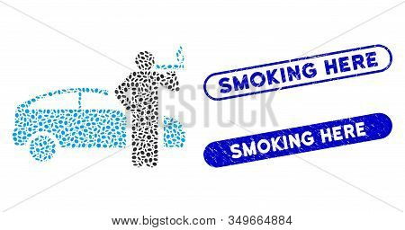 Mosaic Smoking Taxi Driver And Grunge Stamp Seals With Smoking Here Caption. Mosaic Vector Smoking T