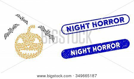 Mosaic Halloween Bats And Corroded Stamp Seals With Night Horror Caption. Mosaic Vector Halloween Ba