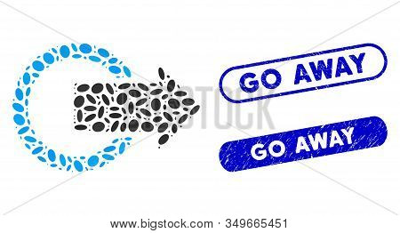 Mosaic Logout And Corroded Stamp Watermarks With Go Away Phrase. Mosaic Vector Logout Is Created Wit