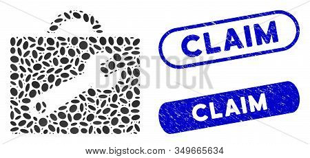 Mosaic Tool Case And Rubber Stamp Seals With Claim Text. Mosaic Vector Tool Case Is Created With Sca