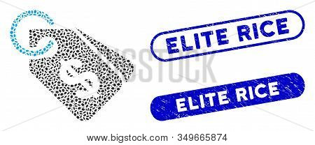 Mosaic Price Tags And Grunge Stamp Seals With Elite Rice Caption. Mosaic Vector Price Tags Is Formed