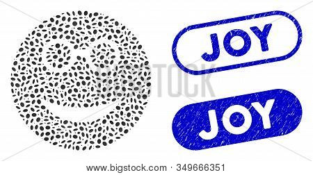 Mosaic Clever Smiley And Grunge Stamp Seals With Joy Text. Mosaic Vector Clever Smiley Is Formed Wit