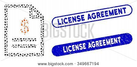 Mosaic Invoice And Corroded Stamp Seals With License Agreement Caption. Mosaic Vector Invoice Is Des