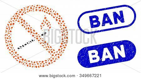 Mosaic Forbidden Match Fire And Corroded Stamp Seals With Ban Phrase. Mosaic Vector Forbidden Match