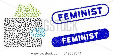 Mosaic Purse And Distressed Stamp Watermarks With Feminist Caption. Mosaic Vector Purse Is Formed Wi
