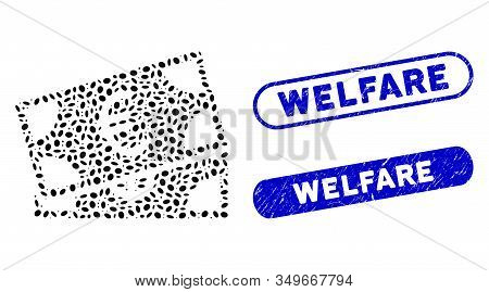 Collage Money Cash And Corroded Stamp Seals With Welfare Phrase. Mosaic Vector Money Cash Is Formed