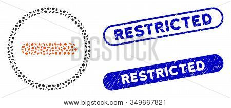 Mosaic Restricted And Rubber Stamp Seals With Restricted Caption. Mosaic Vector Restricted Is Create