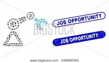 Mosaic Robotics Manipulator And Rubber Stamp Watermarks With Job Opportunity Caption. Mosaic Vector