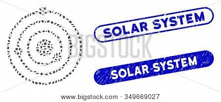 Mosaic Solar System And Corroded Stamp Seals With Solar System Caption. Mosaic Vector Solar System I