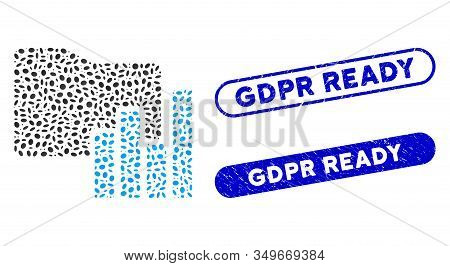 Mosaic Charts Folder And Corroded Stamp Seals With Gdpr Ready Text. Mosaic Vector Charts Folder Is F