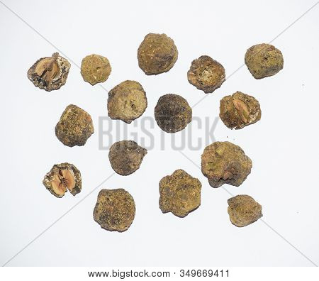 Dried Full Amla Fruit On White Background. Full And Half. Herbal Ayurvedic Medicinal. Dried Indian G
