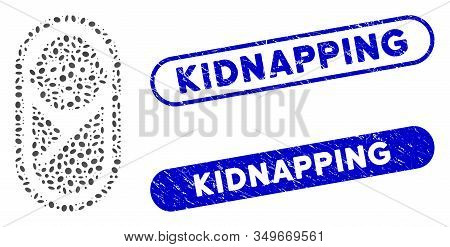 Mosaic Newborn And Corroded Stamp Seals With Kidnapping Phrase. Mosaic Vector Newborn Is Composed Wi