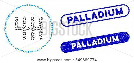 Mosaic Gear Box And Corroded Stamp Seals With Palladium Text. Mosaic Vector Gear Box Is Formed With