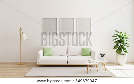 Mock Up Three Poster Frame In Modern Interior Background. Scandinavian Style. Bright  And Cozy Livin