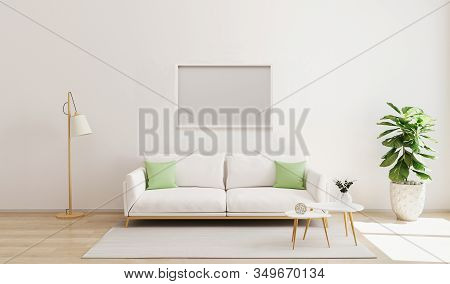 Mock Up Horizontal Frame In Modern Interior Background. Scandinavian Style. Bright  And Cozy Living