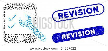 Collage Smartphone Options And Rubber Stamp Seals With Revision Caption. Mosaic Vector Smartphone Op