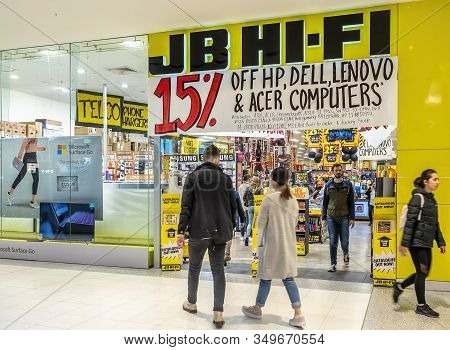 Canberra, Australia - Sep 8, 2018: Entrance To The Popular Jb Hi-fi Store In The Canberra Centre. It
