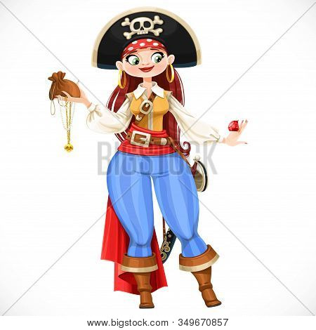 Brave Cute Cartoon Chubby Pirate Girl With Looted Trophies Isolated On White Background