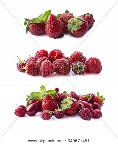 Ripe Red Berries Isolated On White Background.juicy And Delicious Raspberries, Strawberries And Dogw
