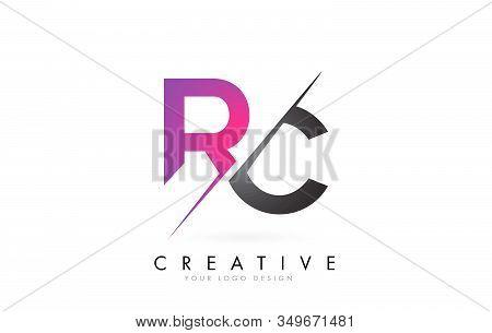 Rc R C Letter Logo With Color Block Design And Creative Cut. Creative Logo Design.