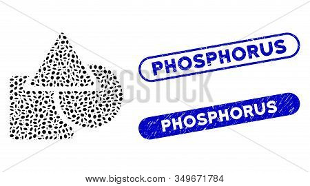 Collage Geometric Shapes And Distressed Stamp Seals With Phosphorus Text. Mosaic Vector Geometric Sh