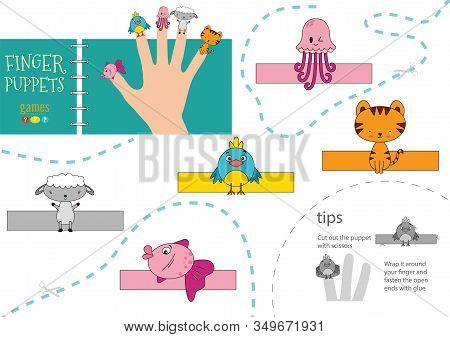 Vector Animals As Finger Puppets. Cut And Glue Activity For Preschool Kids