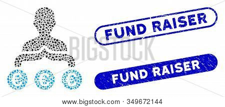 Mosaic Euro Capitalist And Rubber Stamp Seals With Fund Raiser Text. Mosaic Vector Euro Capitalist I