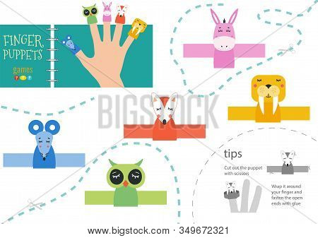 Finger Puppet Vector Animals. Cut And Glue Educational Worksheet With Donkey, Mouse, Owl For Little