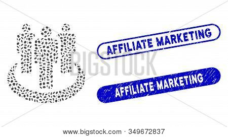 Mosaic Affiliate And Distressed Stamp Seals With Affiliate Marketing Text. Mosaic Vector Affiliate I