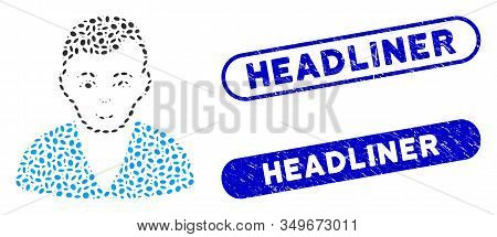 Mosaic Man And Rubber Stamp Seals With Headliner Text. Mosaic Vector Man Is Created With Random Elli